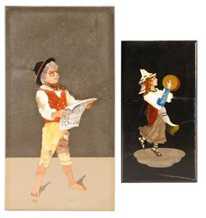 Two Italian Pietra Dura Plaques Gypsy  Boy