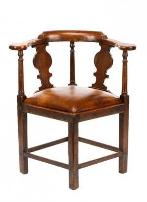 Georgian Style Carved Oak Corner Chair 19th C