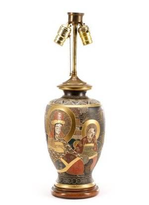 Japanese Gosu Blue Satsuma Converted Vase Lamp