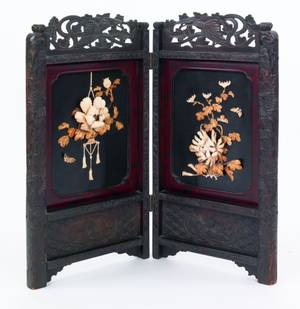 Chinese folding screen with applied ivory flowers