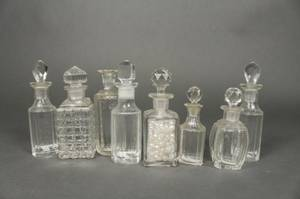Collection of 8 Glass  Crystal Perfume Bottles