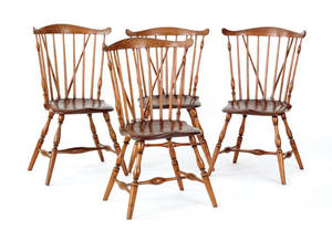 Set of four New England brace back windsor dining chairs ca 1780