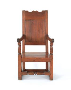 Southeastern Pennsylvania walnut wainscot armchair ca 1725