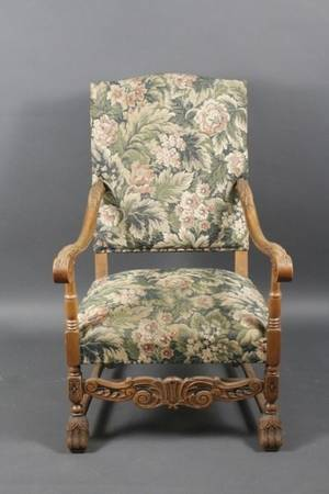 Carved Oak Floral Upholstered Armchair 20th C