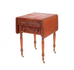 Sheraton cherry and mahogany work table