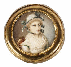 French miniature watercolor on ivory portrait early 19th c