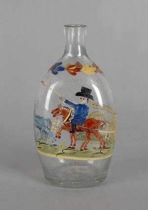 Stiegel type enameled glass flask early 19th c