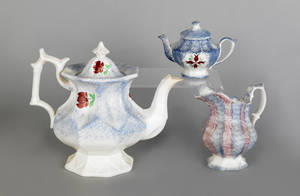 Blue spatter teapot with a rose