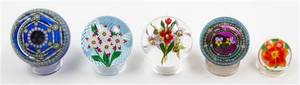 A Collection of Five Glass Paperweights