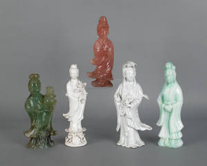 Three Chinese carved stone figures