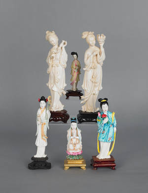 Six Chinese carved ivory figures