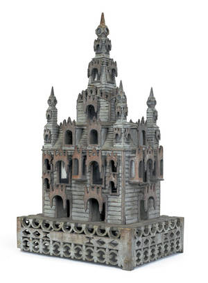 Carved and painted model of a church late 19th c