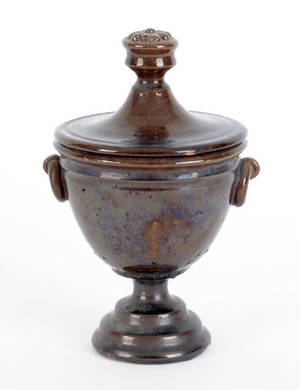 American redware covered urn 19th c