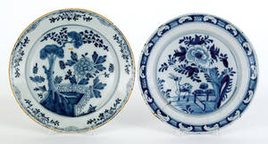 Two Delft blue and white chargers mid 18th c