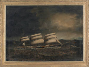 British oil on canvas ship portrait