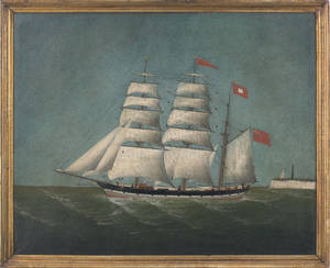 Primitive British oil on canvas ship portrait late 19th c