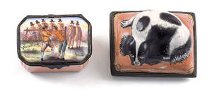 Two Battersea enamel snuff boxes late 18th c