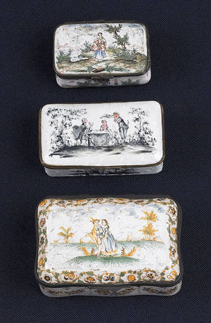 Three French enameled snuff boxes late 18th c