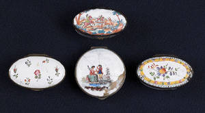 Four Battersea enamel snuff boxes late 18th c