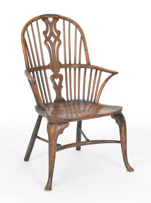 English Queen Anne yewwood Windsor armchair mid 18th c