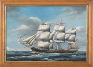 British oil on canvas ship portrait 19th c