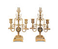 Pair of Tiffany  Co brass candelabra