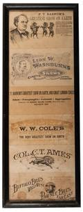 Collection of Framed Antique Circus Letterheads 1870s