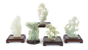 Five Contemporary Chinese carved stone figures