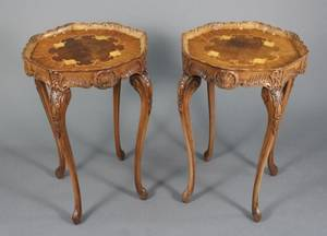 Pair of French Louis XV Style Inlaid Side Tables