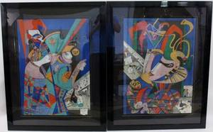 Pair of Mihail Chemiakin Abstract Lithos Signed