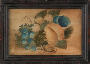American oil on velvet theorem of fruit mid 19th c