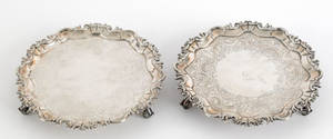 Pair Irish silver salvers ca 1770