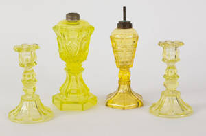 Pair of vaseline glass candlesticks mid 19th c