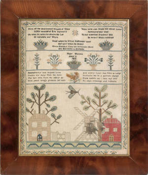 Silk on linen sampler wrought by Mary Watson 1812