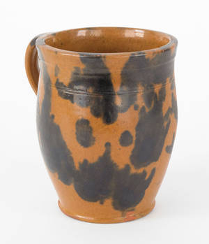 Pennsylvania redware mug 19th c
