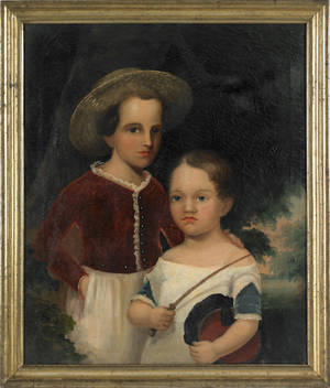 American oil on canvas portrait mid 19th c