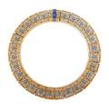 Egyptian revival enameled silver collar necklace