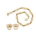 Diamond or yellow gold earrings  link bracelet