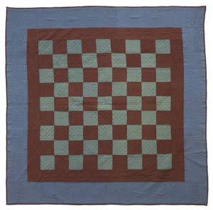 Mifflin County Pennsylvania Amish pieced checkerboard quilt ca 1940