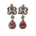 Rubellite diamond  gold drop earrings