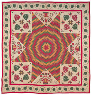 New Jersey or Maryland Bethlehem star album quilt mid 19th c