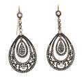 Pair of silver  rose cut diamond drop earrings