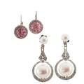 Two pairs gemset white gold earrings
