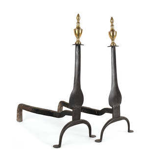 Pair of Pennsylvania wrought iron and brass knife blade andirons ca 1780