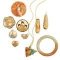Ten pieces nephrite or satsuma jewelry