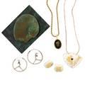 Seven pieces artisanal jewelry  sculpture