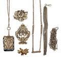 Seven pieces victorian silver jewelry  accessories