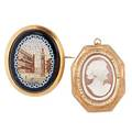Victorian cameo or micromosaic  gold brooches