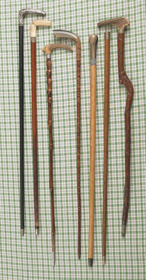 Seven miscellaneous walking sticks and canes
