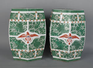 Pair of contemporary Chinese porcelain garden seats with American eagle decoration
